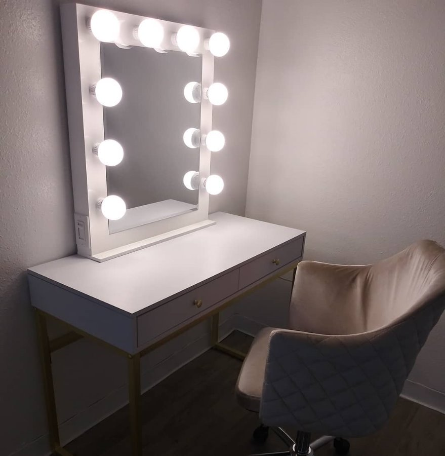 Photo White Vanity Set (Mirror & Desk ONLY)