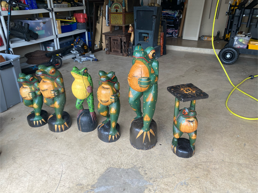 """Photo Set of 6 large Antique all wood hand carved and hand painted frog frogs figures. Vintage wood art. Largest one is 34"""" height and smallest is 22"""" height. They do have small natural wood cracks here and there but overall in great shape. Price is for AL"""