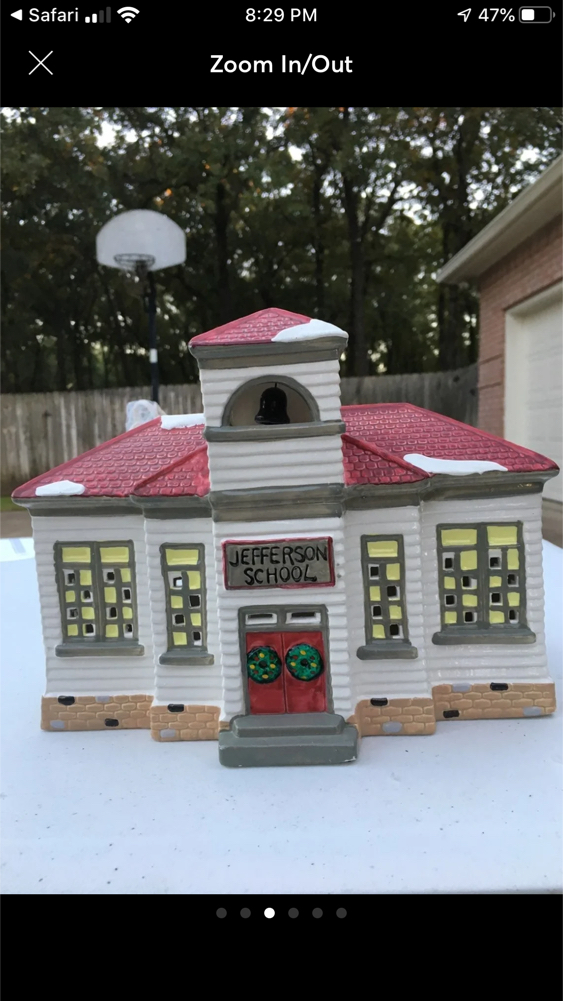 "Photo THE ""ORIGINAL SNOW VILLAGE "" JEFFERSON SCHOOL "" Handpainted Ceramic. Highly Collectible."