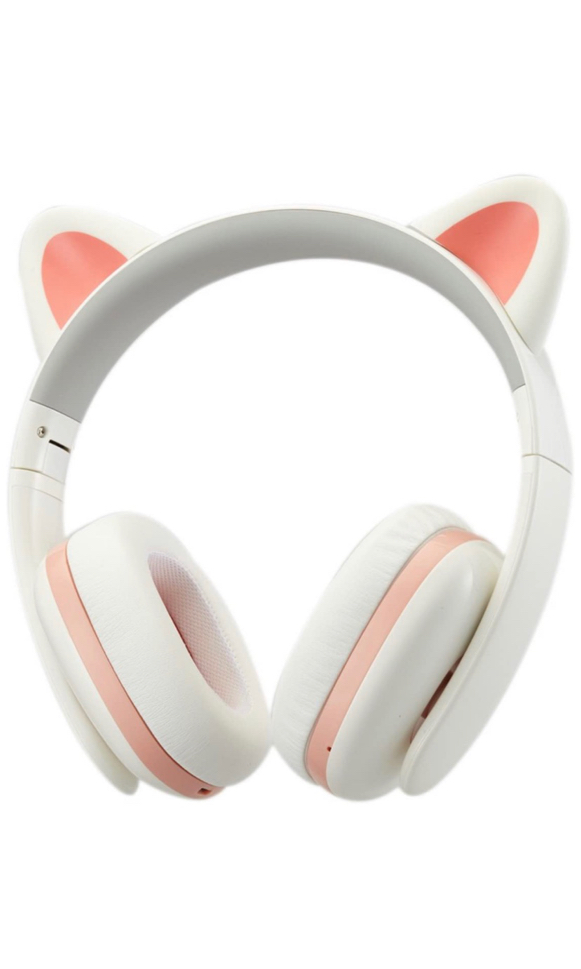 Photo Cat Ear Stereo Over-Ear Game Gaming Bass Headset Noise Canceling Headband Earphone with MIC Rechargeable Port for Bluetooth 4.0 Device