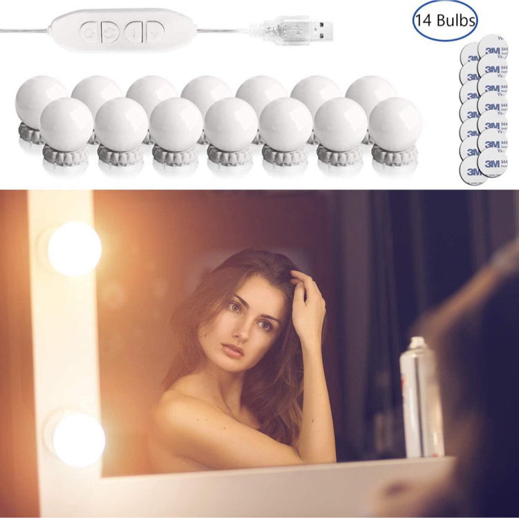 Photo Vanity Lights for Mirror 14 Bulbs Hollywood Style Led Makeup Light kit for Mirrors, Dimmable Color and Brightness Stick on Mirror Lighted for Vanity Table Room Bedroom Bathroom Wall Mirror