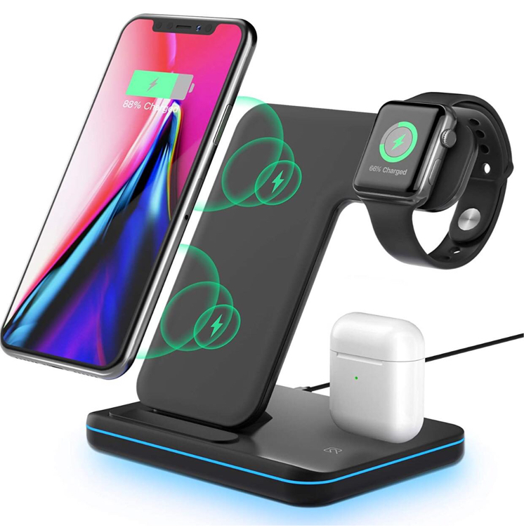 Photo Wireless Charging Station, 3 in 1 Qi Fast Charger for Apple Watch 1 2 3 4 5/Airpods, Wireless Charger for iPhone 11/11 Pro/11 Pro Max/XS Max/XS XR Plus Samsung S10 S9 S8 S7 and Qi-Certified Phones