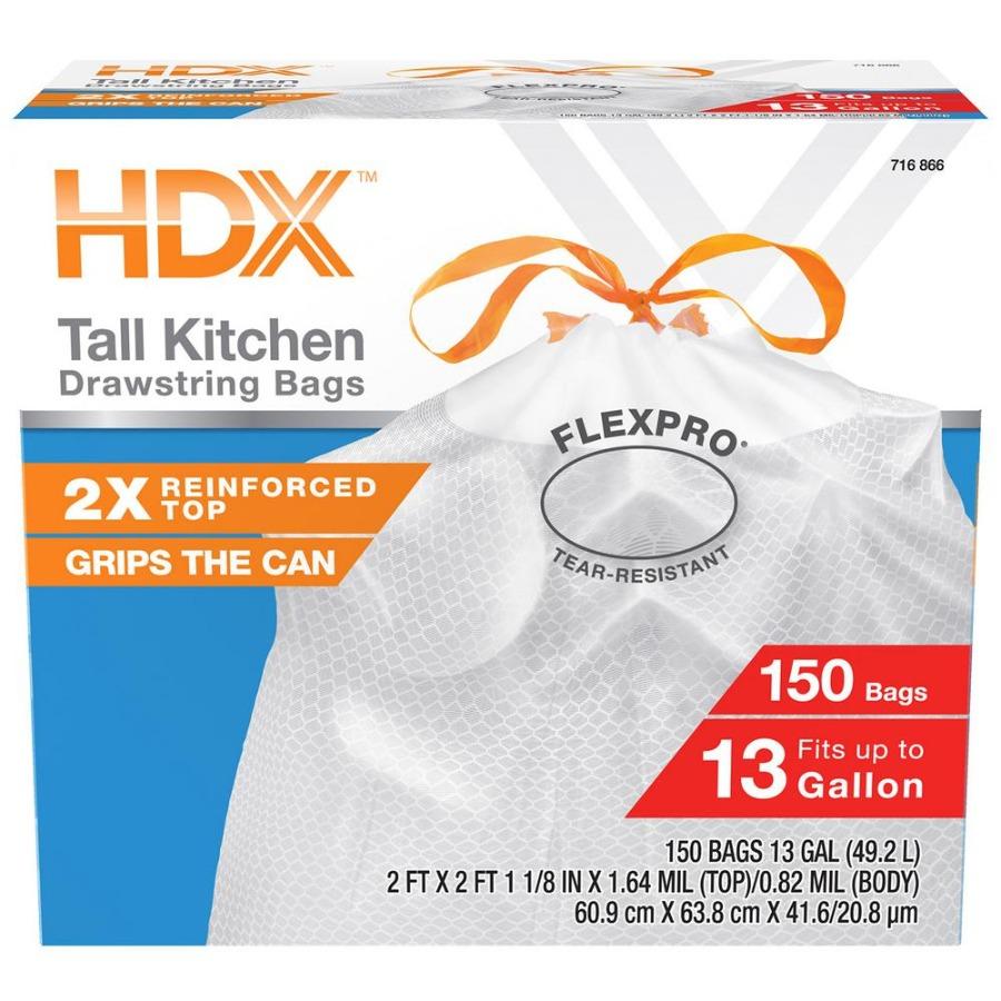 Photo HDX FlexPro 13 Gallon Fresh Scent Kitchen Trash Bag (140-Count)