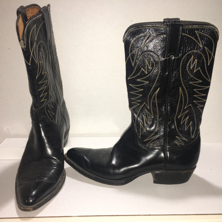 Photo Men's Vintage 1960s - 1970s Justin 2363 Black Western Cowboy Boots
