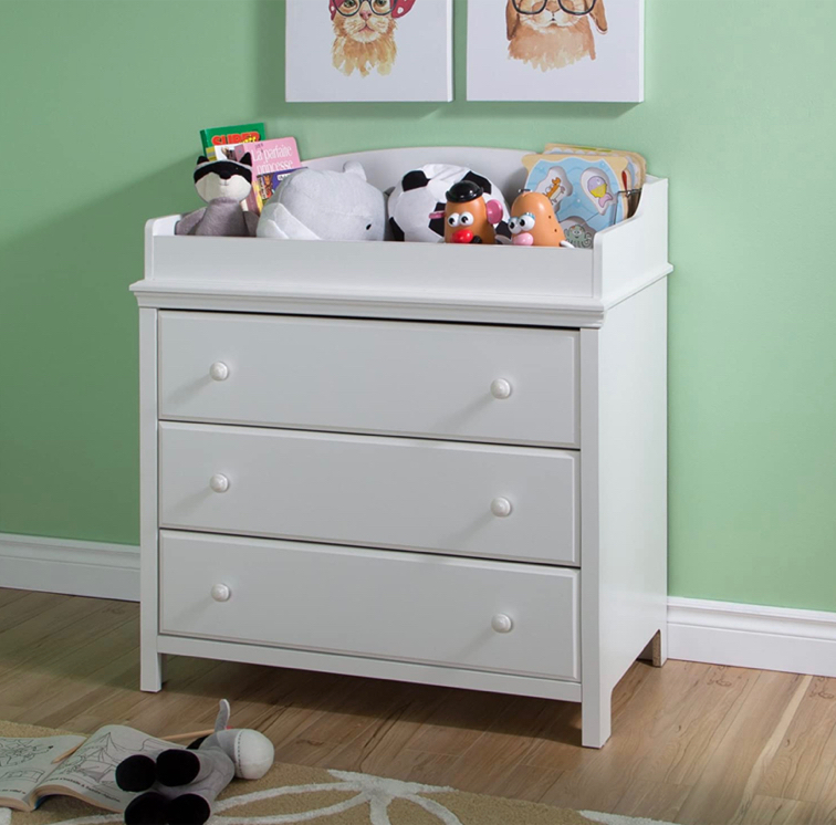 Photo South Shore Cotton Candy Changing Table and Dresser with Drawers, Pure White(available in other colors)