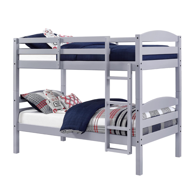 Photo Better Homes and Gardens Leighton Twin Over Twin Wood Bunk Bed, Gray