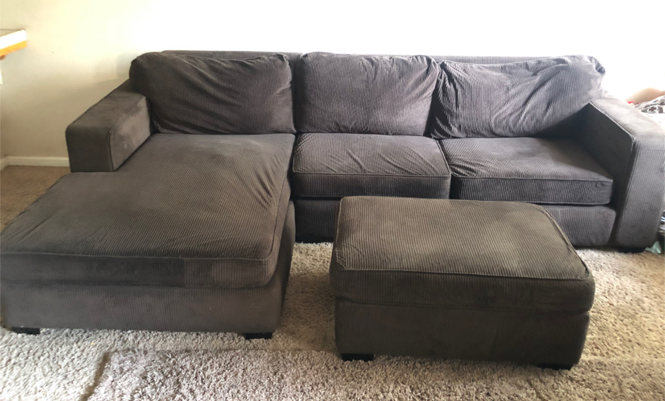 Photo Large Sectional Couch w/ Ottoman Set (Brown)