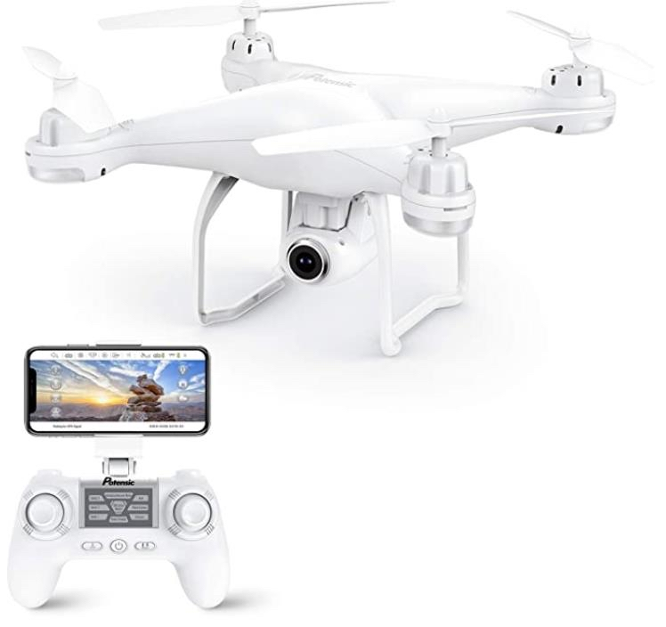 Photo Potensic T25 GPS Drone, FPV RC Drone with Camera 1080P HD WiFi Live Video, Dual GPS Return Home, Quadcopter with Adjustable Wide-Angle Camera- Follow Me, Altitude Hold, Long Control Range, White