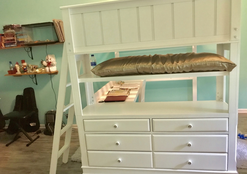 Photo I have a Full size loft bed white in good condition my daughter used it for about a year we will take offers