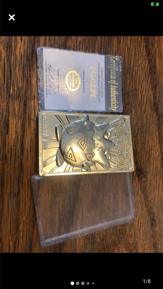 Photo Pokémon Togepi 23 Karat Gold Plated Spec. Edition Trading Thick Card & Cert.