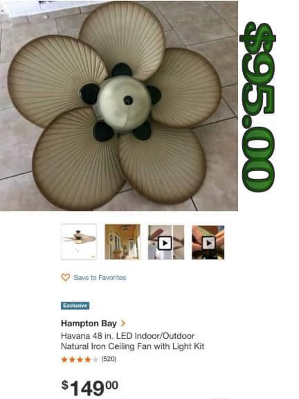 Photo Hampton bay Havana 48 inch Indoor/outdoor ceiling fan with light