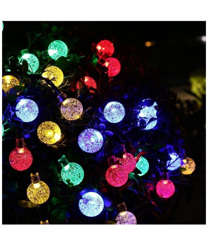 Photo Garden Solar Lights, 50 LED 24ft 8 Modes Waterproof Outdoor String Lights Globe Crystal Balls Fairy Lighting for Patio Party Home Garden Yard Wedding Christmas Decoration (Multicolor)