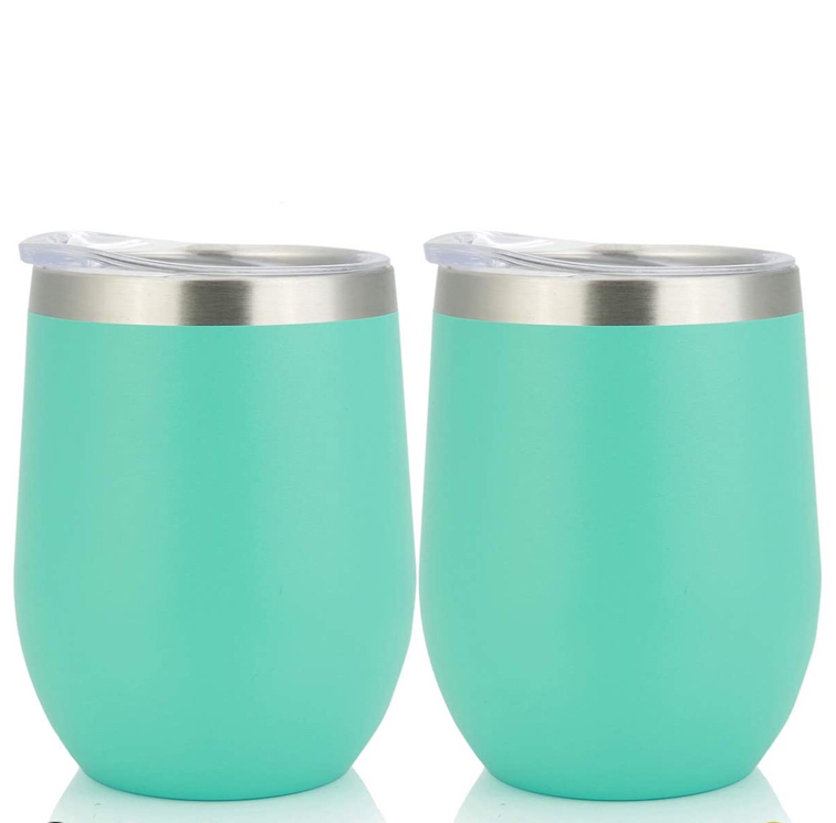 Photo Steel Insulated Wine Tumbler With Lid,12 oz,Double Wall Vacuum Insulated Cup,For Champaign,Cocktail,Beer,Coffee,Drinks,BPA Free (12oz 2 pcs, Aqua Blue)