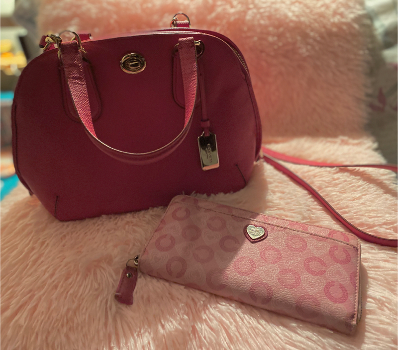 Photo Coach hot pink purse and matching wallet