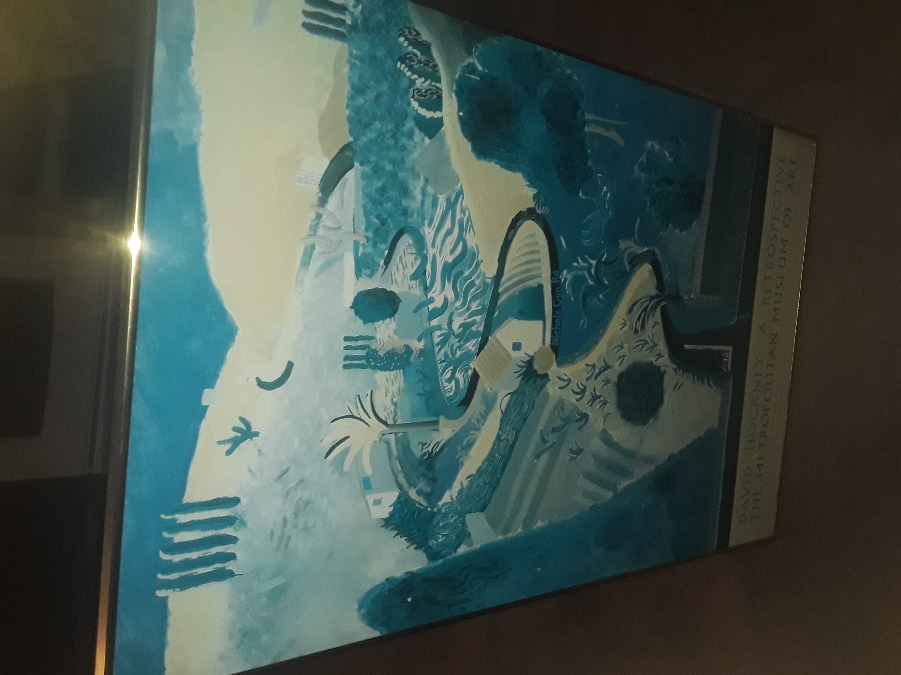 Photo ANTIQUE RARE DAVID HOCKNEY 1988 ADVERTISING POSTER IN GLASS/ METAL FRAME BEAUTIFUL