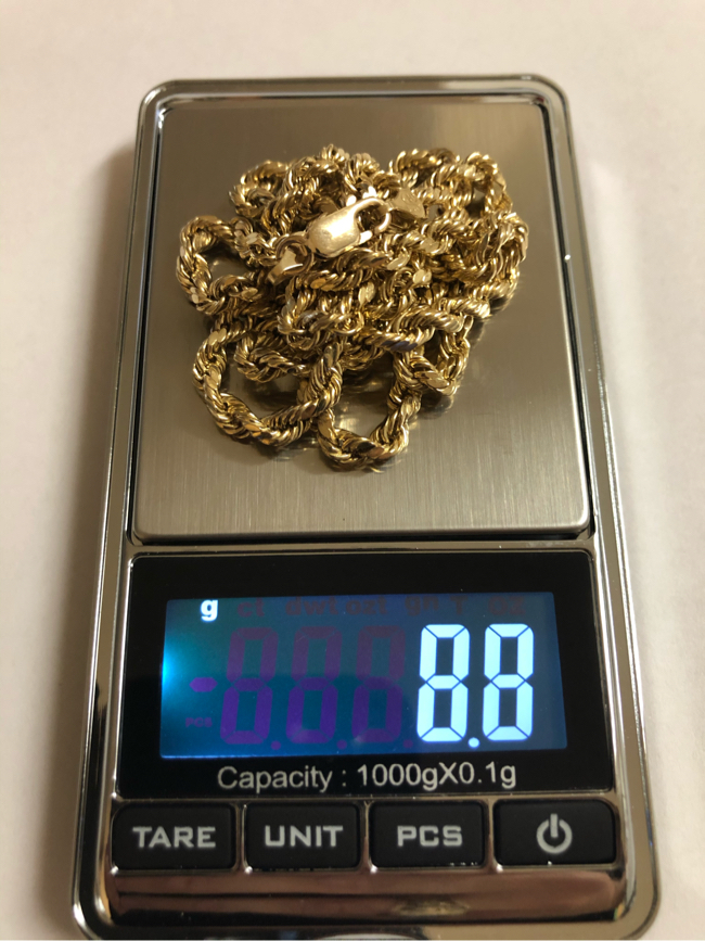 """Photo Gold 10K rope chain 28"""" 8.8 grams Real gold"""
