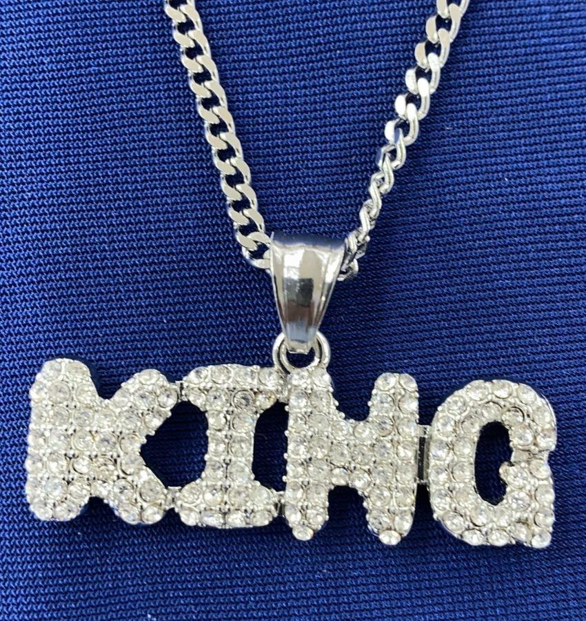 Photo 14k White Gold Finish KING charm+chain