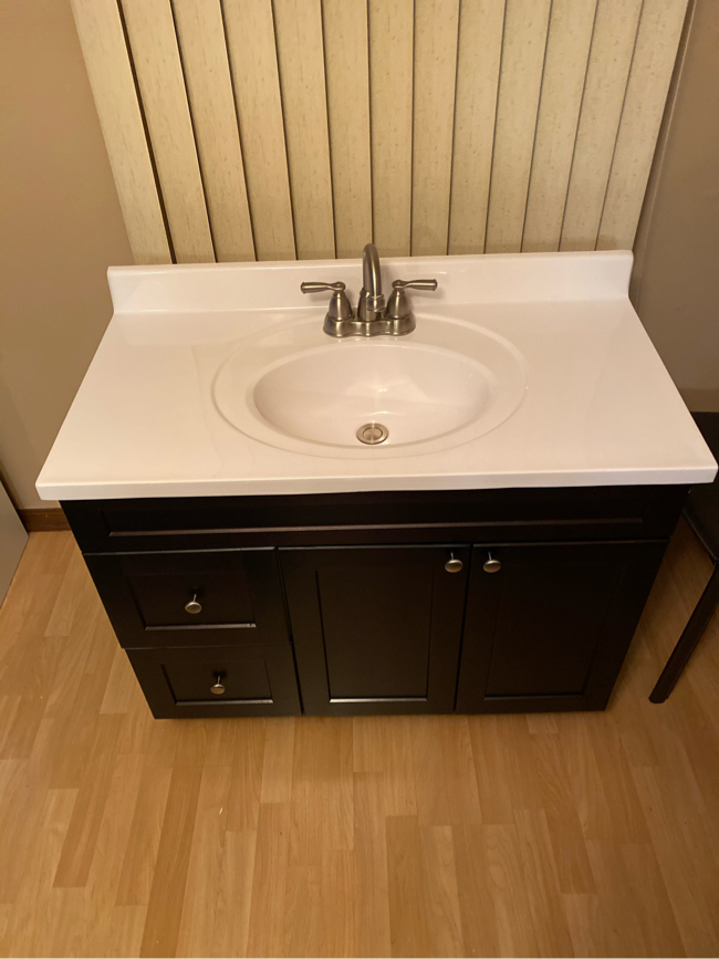 Photo Complete 37 x 19 bathroom vanity set, 'marble top, with a NEW 'espresso' colored cabinet plus Moen faucet