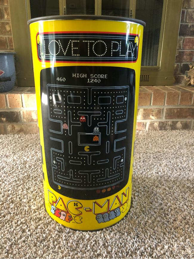 Photo RARE 1980's Pac-Man Trash Can