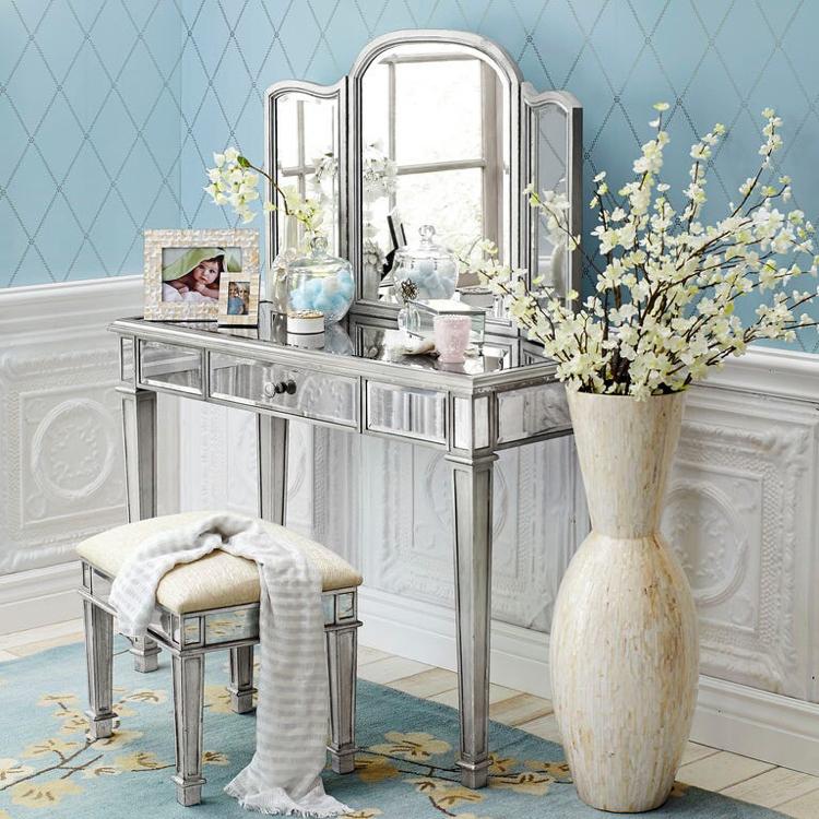Photo Hayworth collection Pier 1 imports silver mirror & vanity