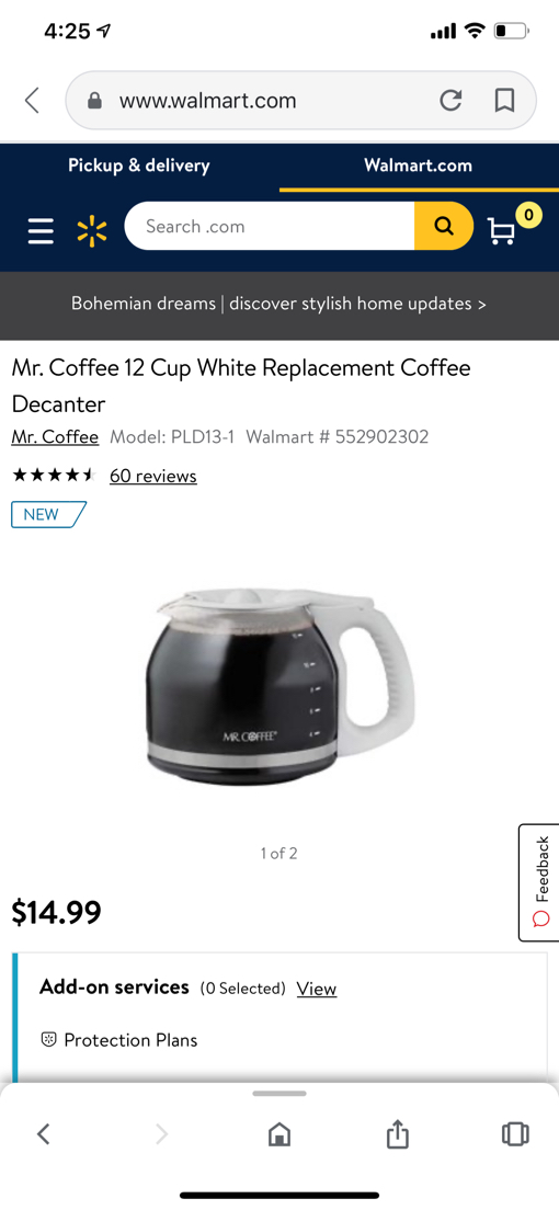 Photo Mr. Coffee 12 Cup White Replacement Coffee Decanter