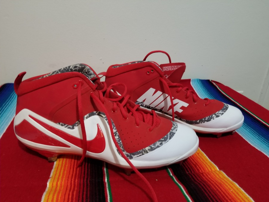 Photo Nike Football Cleats. Red whit white. Size 14. $30