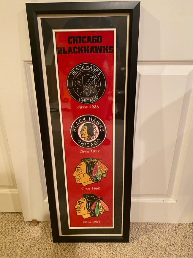 Photo Chicago Blackhawks Logo Banner Framed