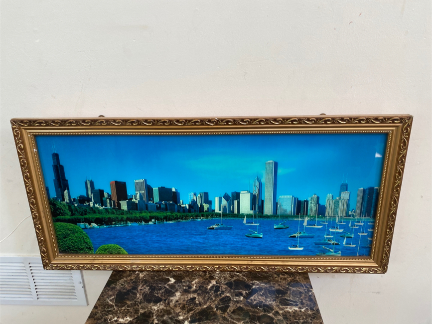 Photo CHICAGO SKYLINE LIGHT UP SHADOW BOX PICTURE WITH WATER SOUND & MOTION