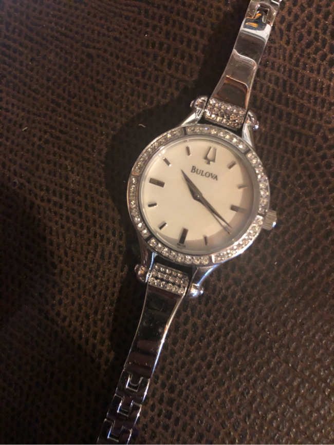 Photo Bulova high end 96L128 MOP Crystal accent ladies watch. Like new. Paid $395.