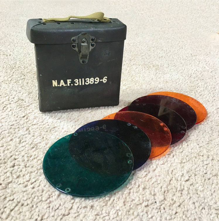 Photo Vintage WWII USN Air Force N.A.F. 311389-6 Carrier Landing Signal Lenses & Case - 328th Fighter Group