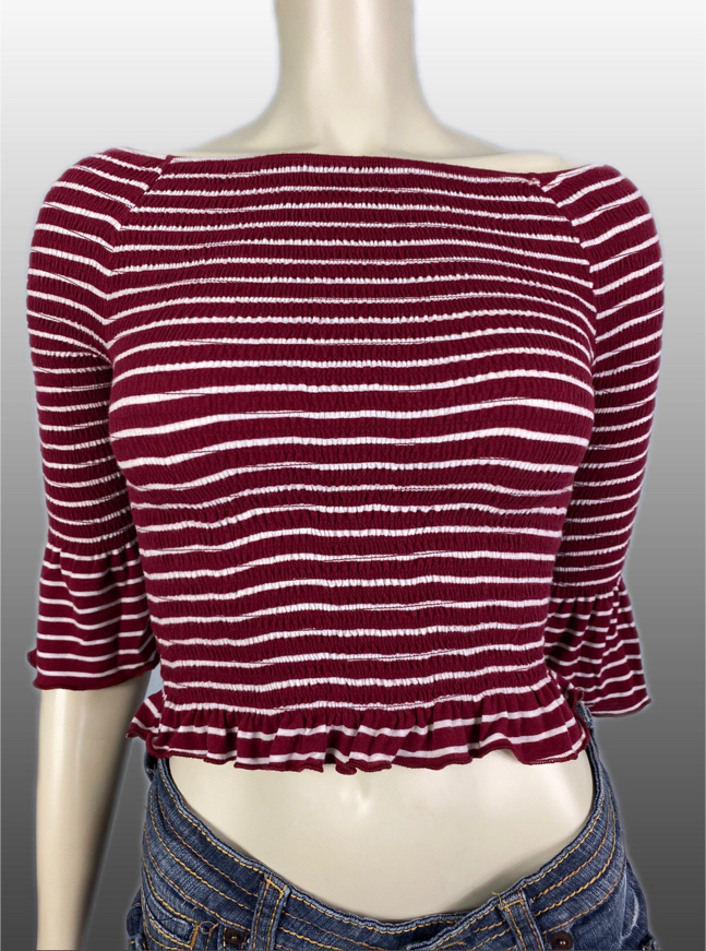 Photo Heart & Hips Women's Red & White Striped Off the Shoulder Stretchy Top Size. Medium