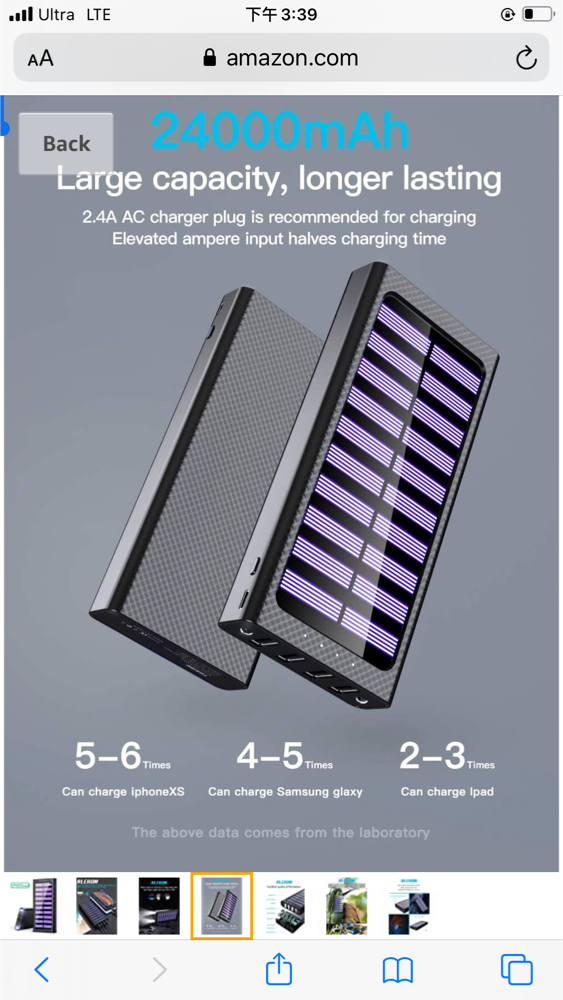 Photo Solar Portable Charger 24000mAh Power Bank High-Speed Charging Huge Capacity External Battery Packs Chargers with 3 Inputs& 4 Outputs Portable Phone Charger for Smartphone and Other Smart Devices