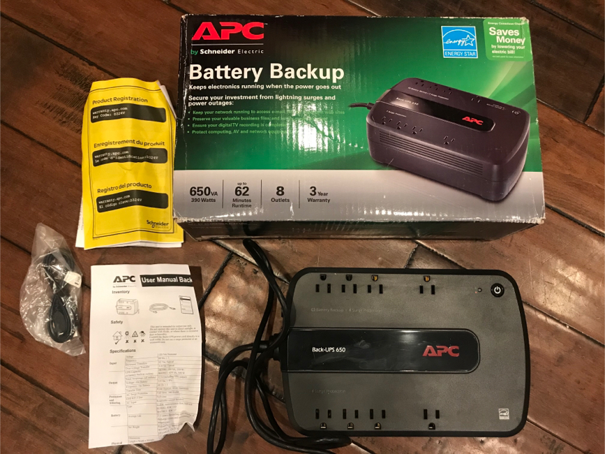 Photo Battery back up surge protector for power outage uninterrupted power supply