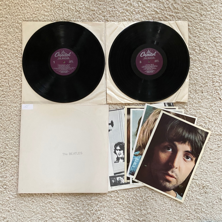 "Photo The Beatles ""The Beatles"" double vinyl lp aka The White Album 1978 Capitol Records Purple label extremely nice glossy vinyl Rock. #10 greatest albums of all time. This pressing sells for $35-$50 online in similar condition. Complete with poster and 4"