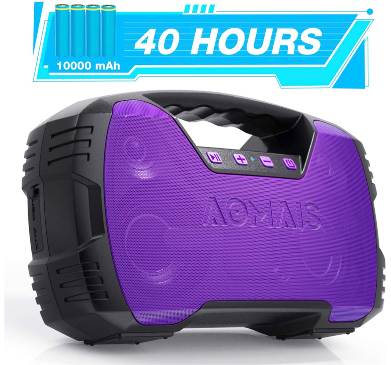 Photo Portable IPX7 Waterproof Bluetooth Speakers, 40-Hour Playtime Wireless Outdoor Speaker, 25W Rich Bass Impressive Sound, Stereo Pairing, Built-in Mic, 100ft Bluetooth, LED Lights for Home Party