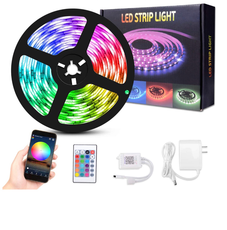 Photo LED Strip Lights, 16.4ft 150 LEDs Flexible Color Changing SMD 5050 RGB LED Tape Lights with 24 Key Remote Controller