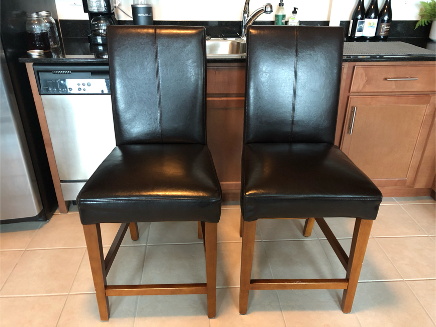 Photo Two Bar Stool Leather Dark Brown Chairs - great condition
