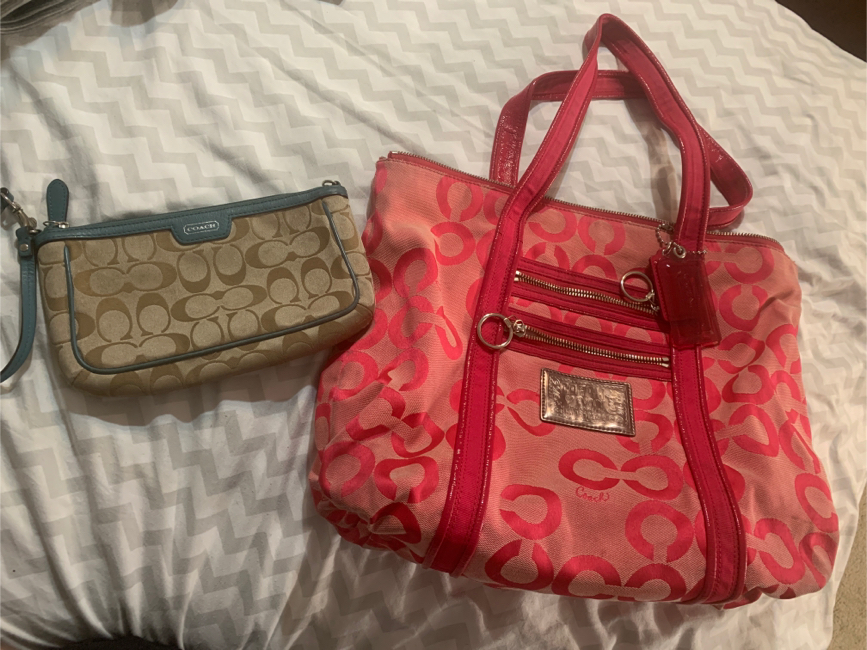 Photo Pink Coach Purse and wristlet
