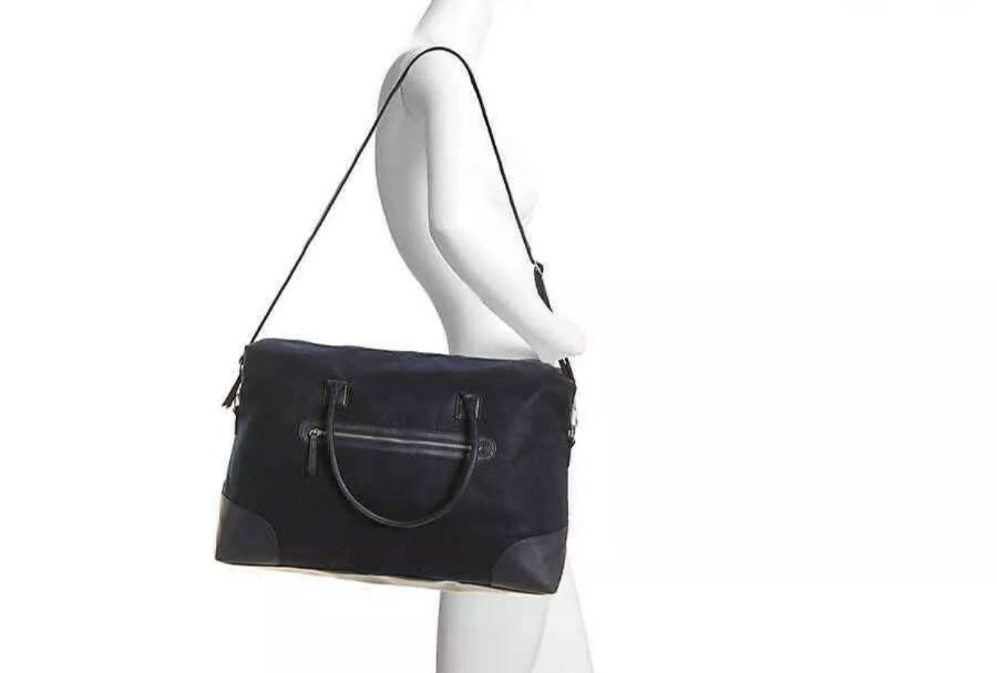 Photo Brand New DSW Navy Blue Felt Weekender Duffle Bag