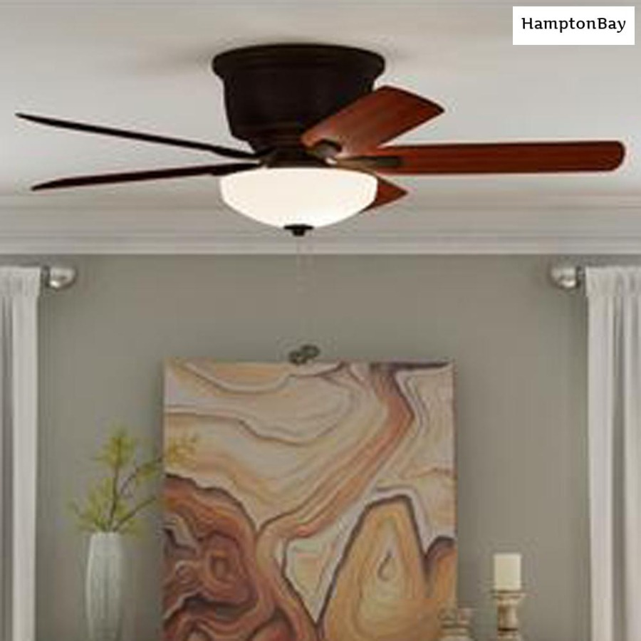 Photo Hampton Bay Holly Springs Low Profile 52 in. LED Indoor Oil-Rubbed Bronze Ceiling Fan with Light Kit