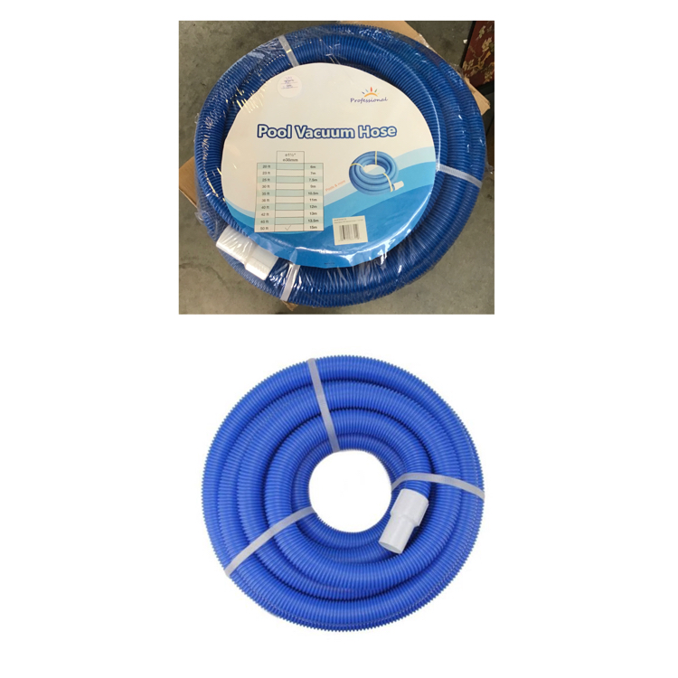 Photo 50' Blue Blow Molded Swimming Pool Vacuum Hose with Swivel Cuff
