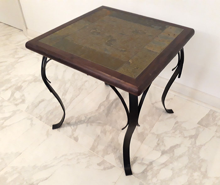 Photo Pier 1 Stone, Wood, and Iron Accent Side Table