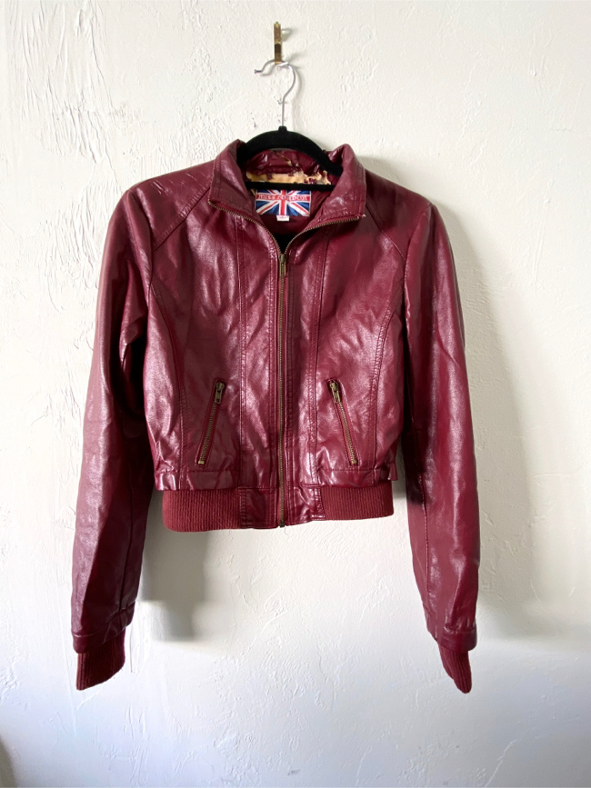 Photo Miss London Red Faux Leather Jacket | Small