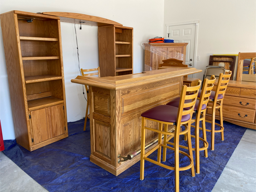 Photo Bar shelves and 4 stools $450 youth dresser with mirror $75 adult dresser with mirror $130 corner TV stand 125