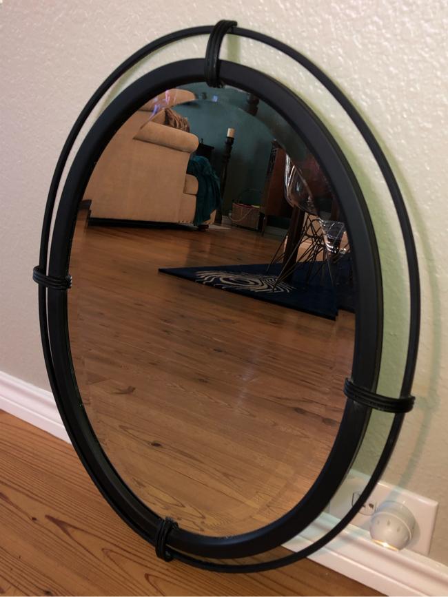 Photo 20 x 26 oval beveled vanity mirror in black metal frame