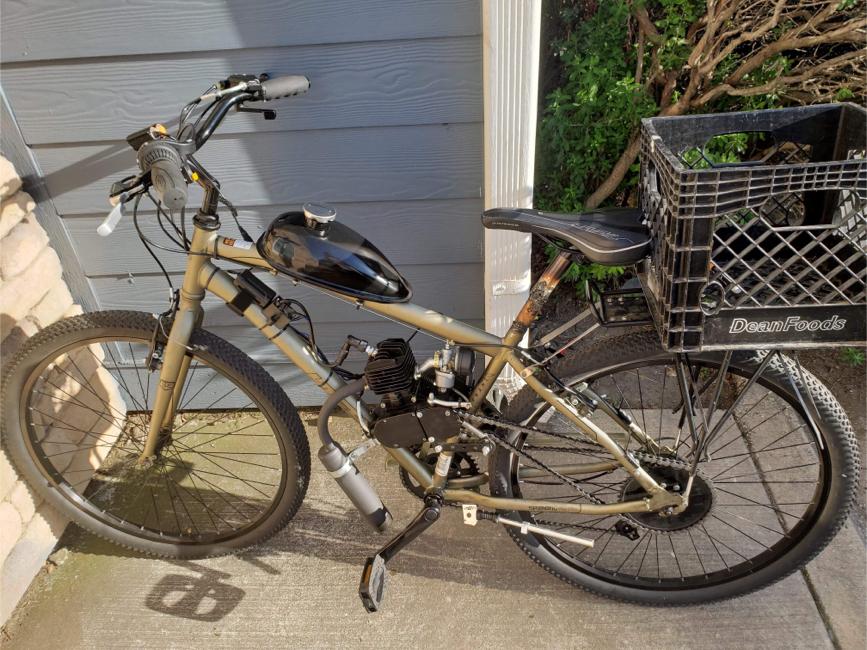 Photo Gas Bike Dewey Bicycle w/ Engine & Stretch Street Cruiser