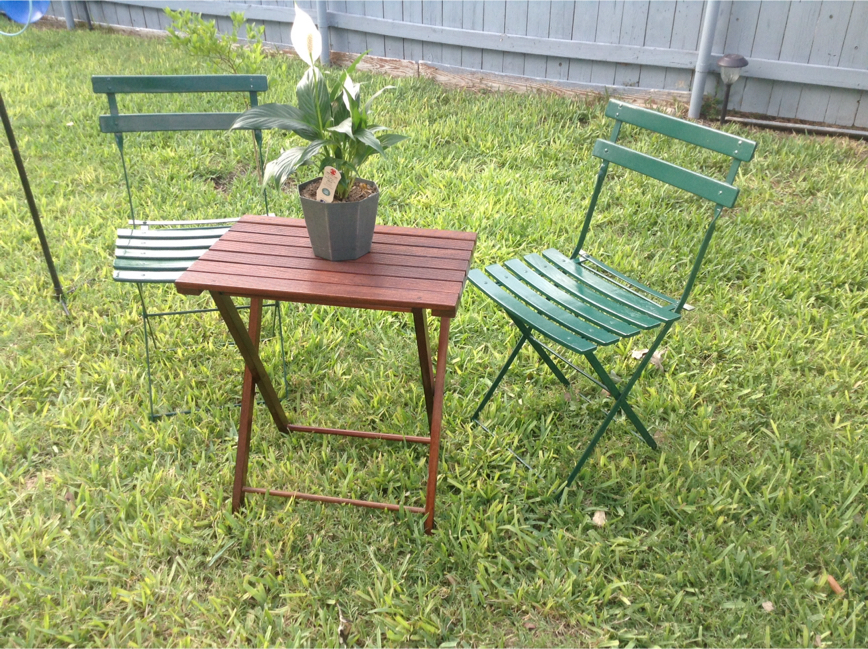 Photo Beautiful set of 2 Fermob Bistro chairs from Pottery Barn, crafted in France, solid steel frame, and we included a solid wood table